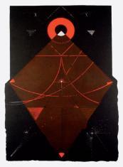"""ad. Dariusz Kaca, """"Kształt z czerwonym nimbem"""" linoryt barwny, 2004, 75 x 50 cm"""