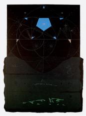 """ad. Dariusz Kaca, """"Poszukujac wlasnej gwiazdy"""" linoryt barwny, 2004, 75 x 49,5 cm"""