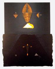 """ad. Dariusz Kaca, """"Stan zawieszenia"""" linoryt barwny  2004, 74 x 50 cm"""