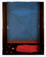 """ad. Dariusz Kaca, """"Ostatnie spotkanie"""" linoryt barwny  2006, 78,5 x 49,7 cm"""