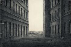 """prof. zw. Jan Szmatloch, """"Pejzaż I"""" akwaforta 1982, 23 x 30 cm"""