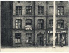 "prof. zw. Jan Szmatloch, ""Jak co dzień"" akwaforta 1982, 22,5 x 29,5 cm"