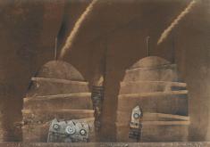 """prof. zw. Józef Budka, """"Tajemnica Pogorzałki"""" lito-pastel 1996, 70 x 100 cm"""