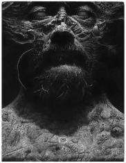 prof. zw. Leszek Kiljański,  topografia twarzy, linoryt  1989, 17,0 x 13,0 cm