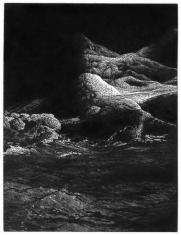 prof. zw. Leszek Kiljański,  kamień z Ruissalo III, linoryt 1987, 17,0 x 13,0