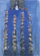 """as. dr Małgorzata Dmitruk, """"Z cyklu Wesele""""  litografia  2000, 64 x 48 cm"""