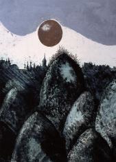"""prof. zw. Rafał Zygmunt  Strent, """"Cztery wieki"""" technika własna 1996, 64 x 50 cm"""