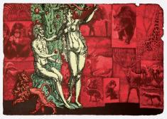 """prof. nzw. Witold Warzywoda, """"Lekcja Zoologii, więcej: Księga Rodzaju 3, 8-24"""" litografia  2004, 41 x 65,7 cm"""