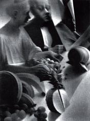 """prof. zw. Włodzimierz  Kotkowski, """"Dessert"""" mezzotinta 1993, 42,5 x 32 cm"""