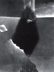 """prof. zw. Włodzimierz  Kotkowski, """"Miasto"""" mezzotinta 1971, 42,5 x 32 cm"""